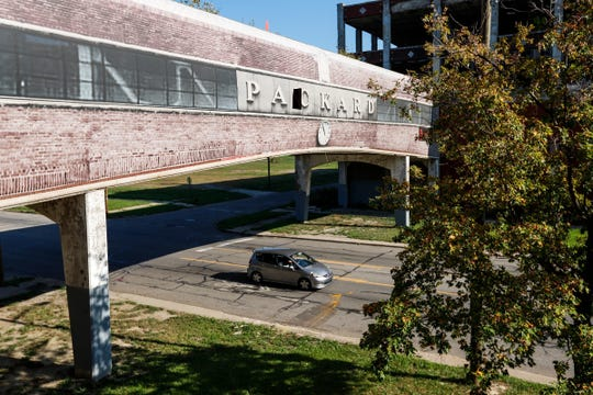 Looking at the bridge that connects factory buildings across Grand Boulevard from the second floor of the administration building at at the Packard Plant, Sunday, September 24, 2017 in Detroit.