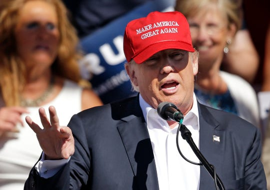 FILE - In this May 7, 2016 file photo, Republican presidential candidate Donald Trump speaks at a rally in Lynden, Wash.