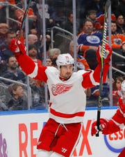 Detroit Red Wings forward Dylan Larkin (71) celebrates a second period goal against the Edmonton Oilers at Rogers Place on Tuesday, Jan. 22, 2019.