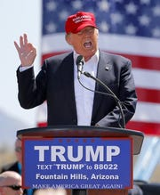 Republican presidential candidate Donald Trump speaks during a campaign rally Saturday, March 19, 2016, in Fountain Hills, Ariz.