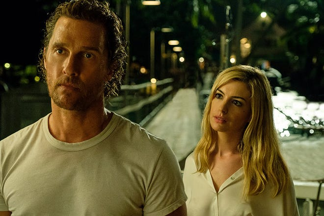 "Matthew McConaughey and Anne Hathaway in ""Serenity."""