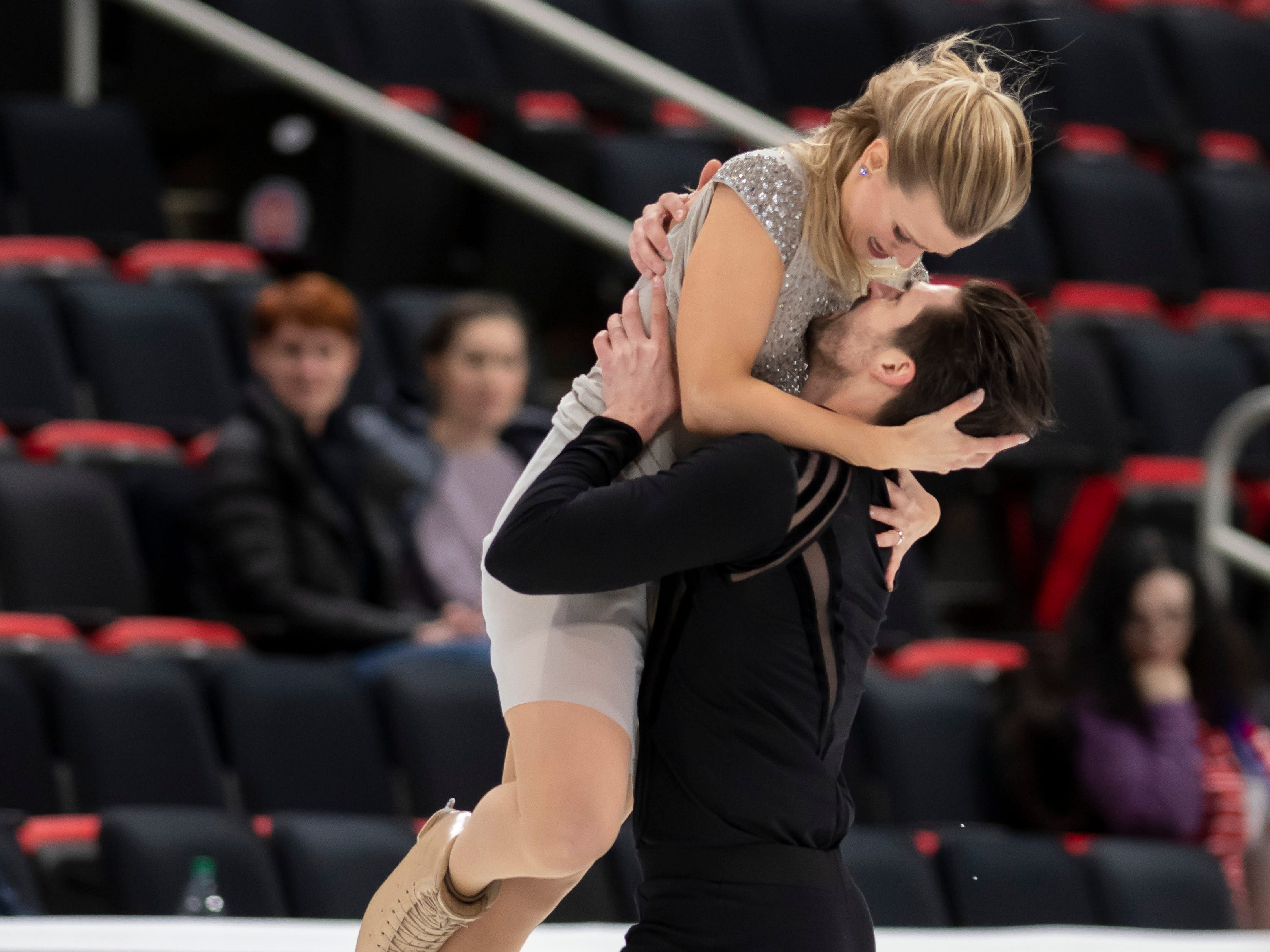 Madison Hubbell and Zachary Donohue practice for the dance competition.  Hubbell is a native of Lansing.
