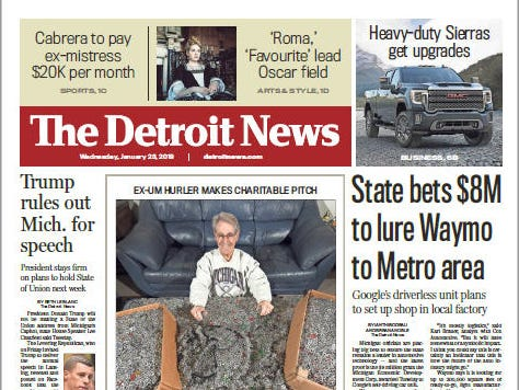 The front page of The Detroit News on Wednesday, January 23, 2019.