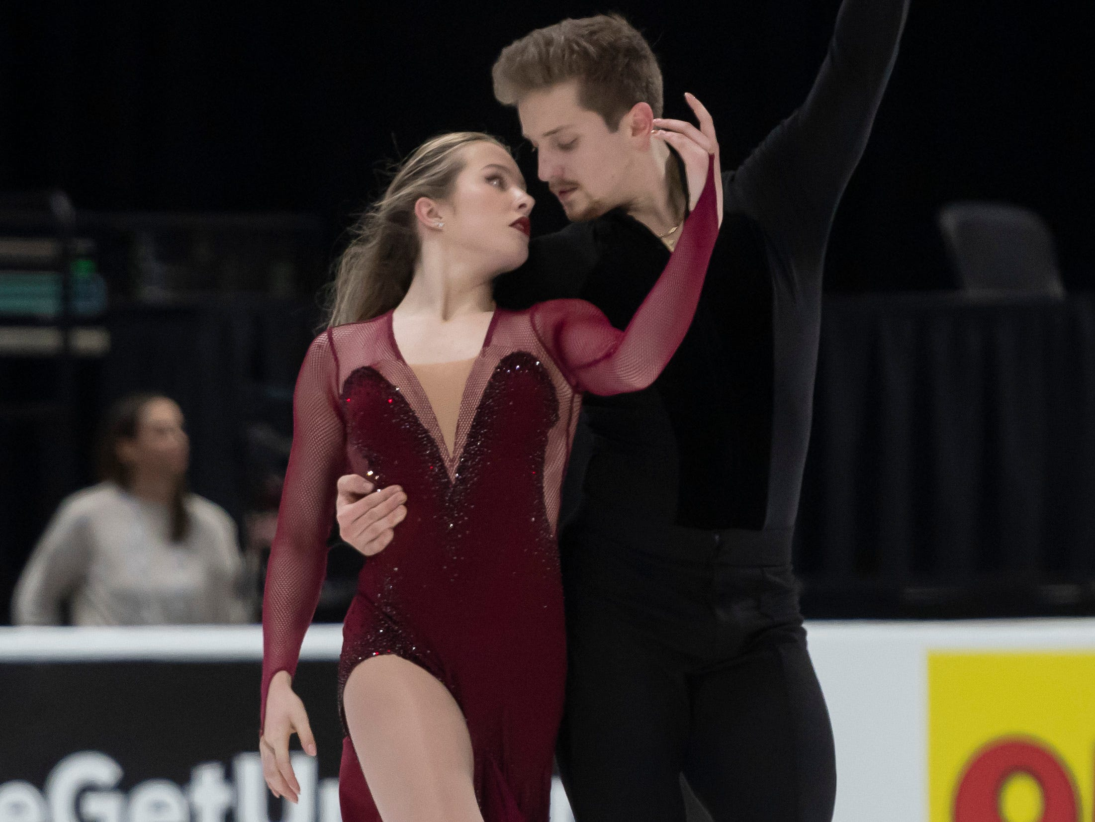 Christina Carreira and Anthony Ponomarenko practice for the dance competition at the U.S. Figure Skating Championships, at Little Caesars Arena, in Detroit, January 23, 2019.  (David Guralnick / The Detroit News)