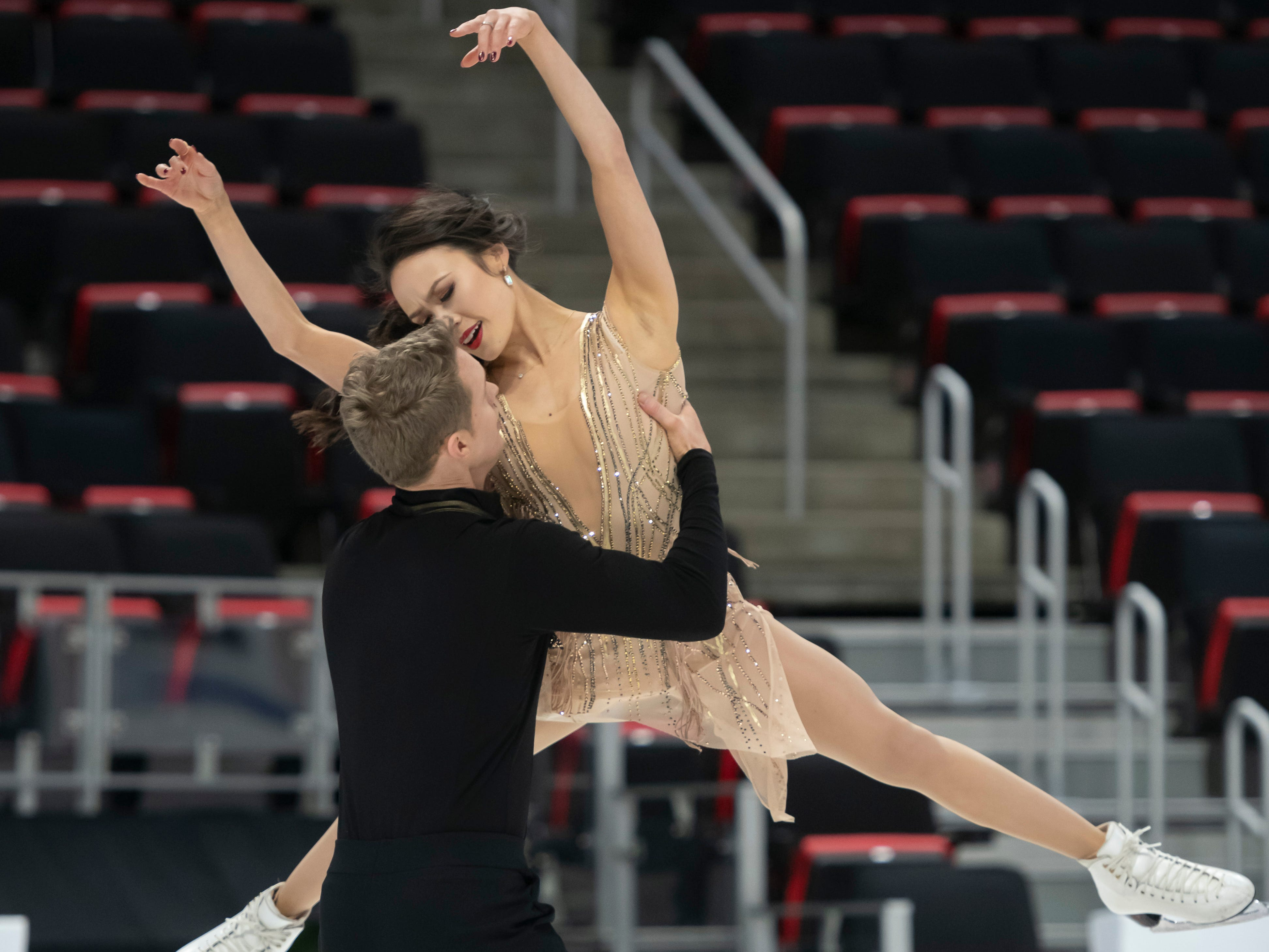 Madison Chock and Evan Bates practice for the dance competition. Chock is a native of Novi and Bates' hometown is Ann Arbor.