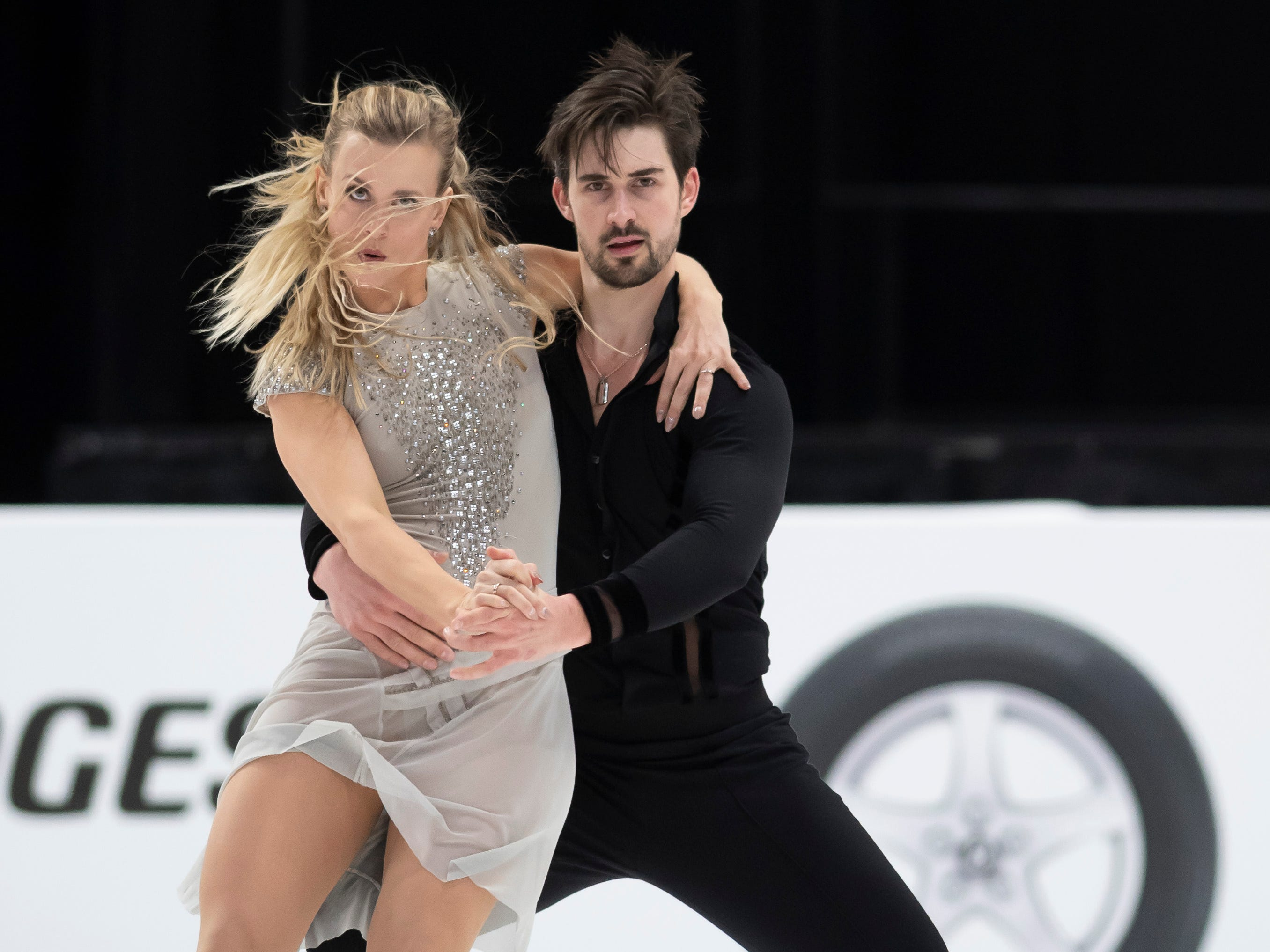 Madison Hubbell and Zachary Donohue practice for the dance competition at the U.S. Figure Skating Championships, at Little Caesars Arena, in Detroit, January 23, 2019.  (David Guralnick / The Detroit News)