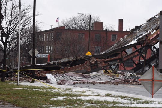 The scene of the collapse of the pedestrian bridge at the old Packard Plant in Detroit on Wednesday.