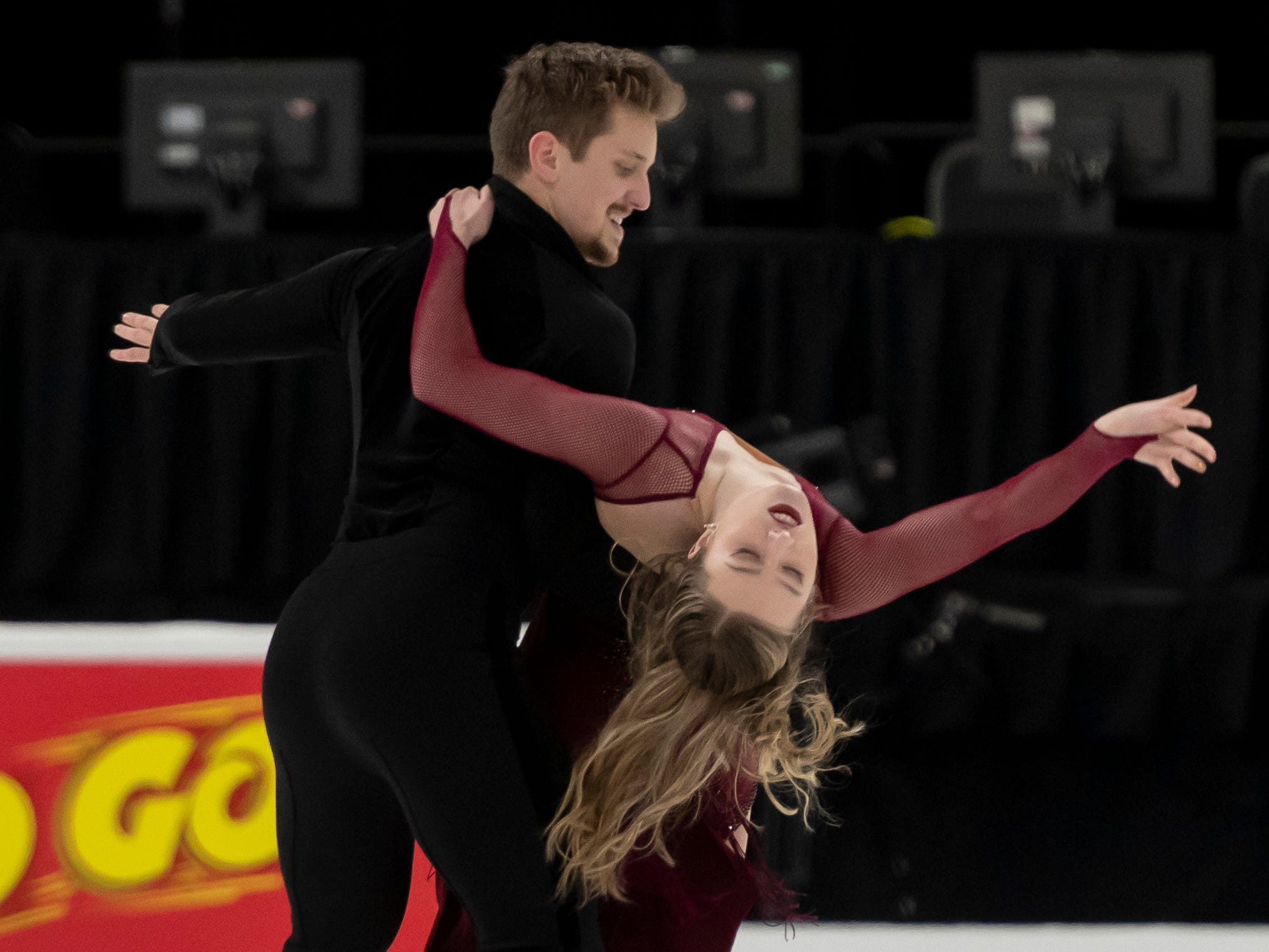 Christina Carreira and Anthony Ponomarenko practice for the dance competition at the U.S. Figure Skating Championships. The pair train in Novi.