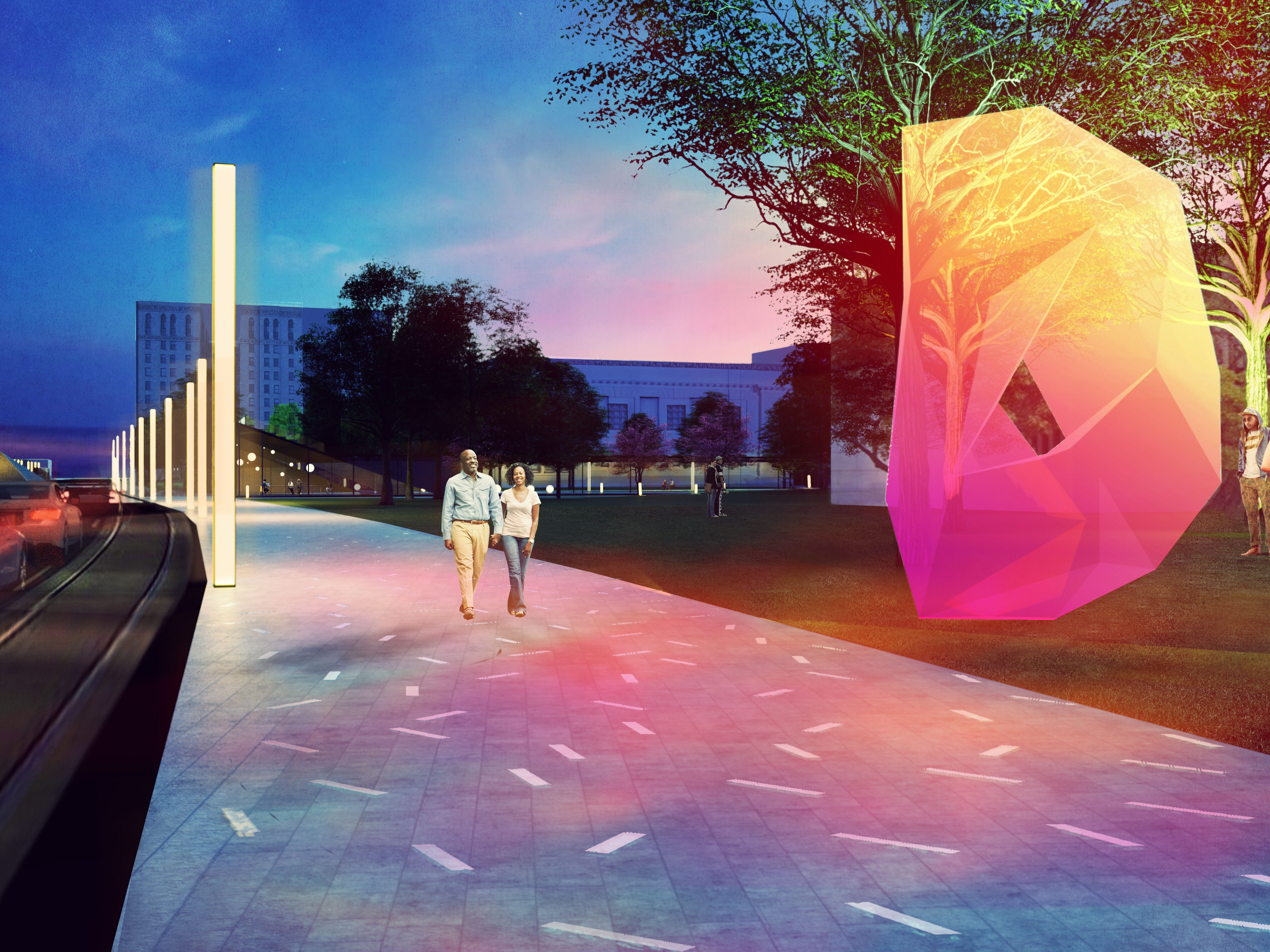 The finalist team Ten X Ten proposes a lighted path in front of the Woodward entrance of the Detroit Institute of Arts.