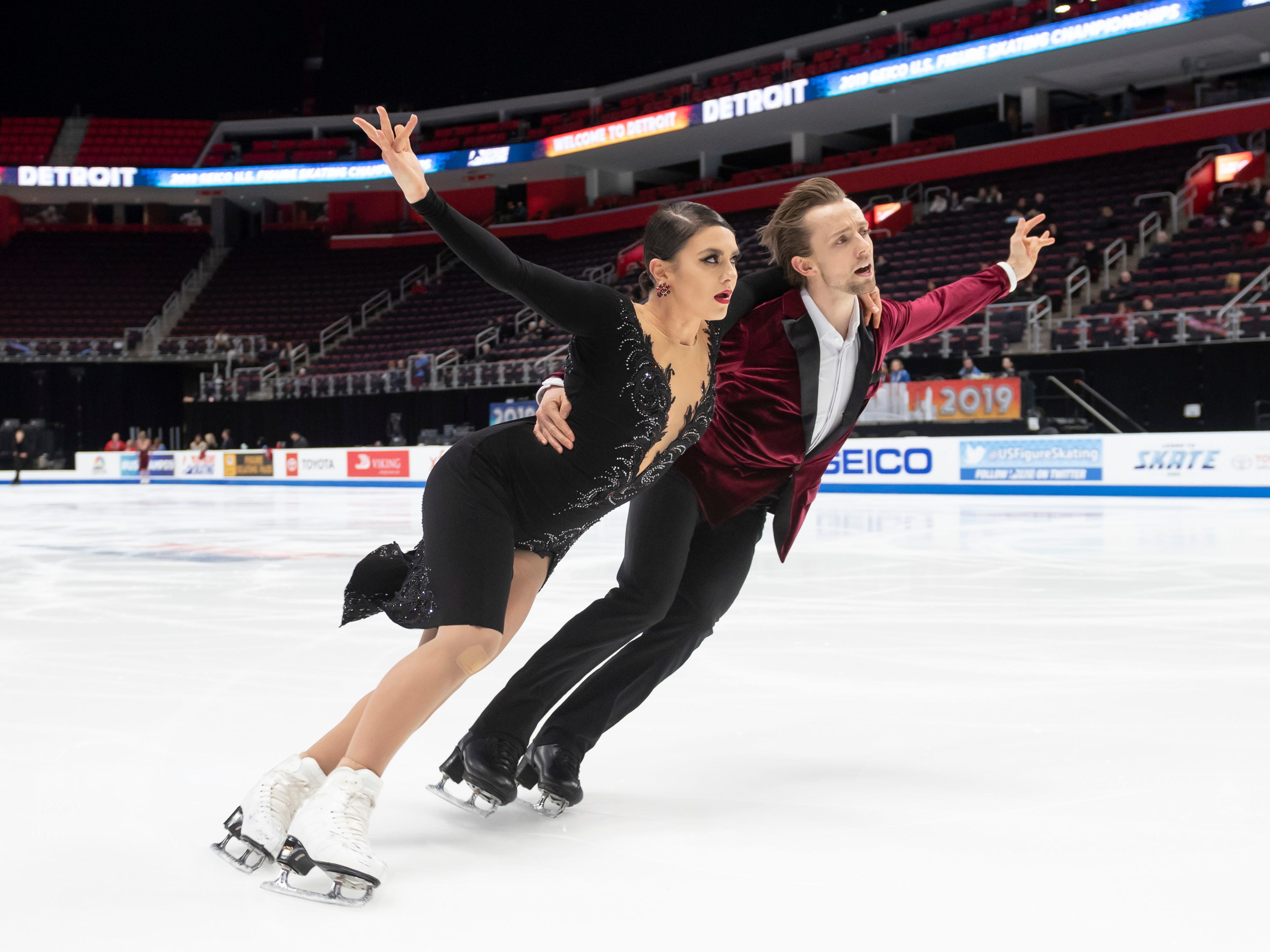 Kaitlin Hawayek and Jean-Luc Baker practice for the dance competition at the U.S. Figure Skating Championships. Hawayek attends Oakland University and is a coach at the Detroit skating club.