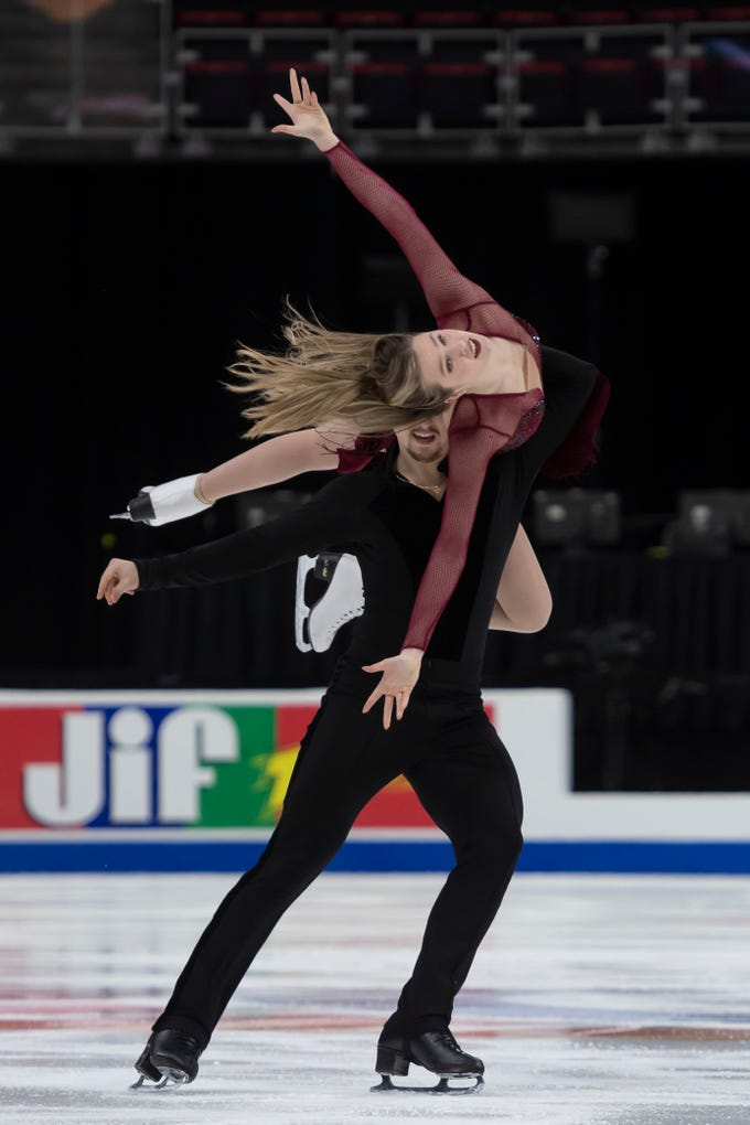 Christina Carreira and Anthony Ponomarenko practice for the dance competition at the U.S. Figure Skating Championships on Wednesday, Jan. 23, 2019, at Little Caesars Arena in Detroit. The pair train in Novi.