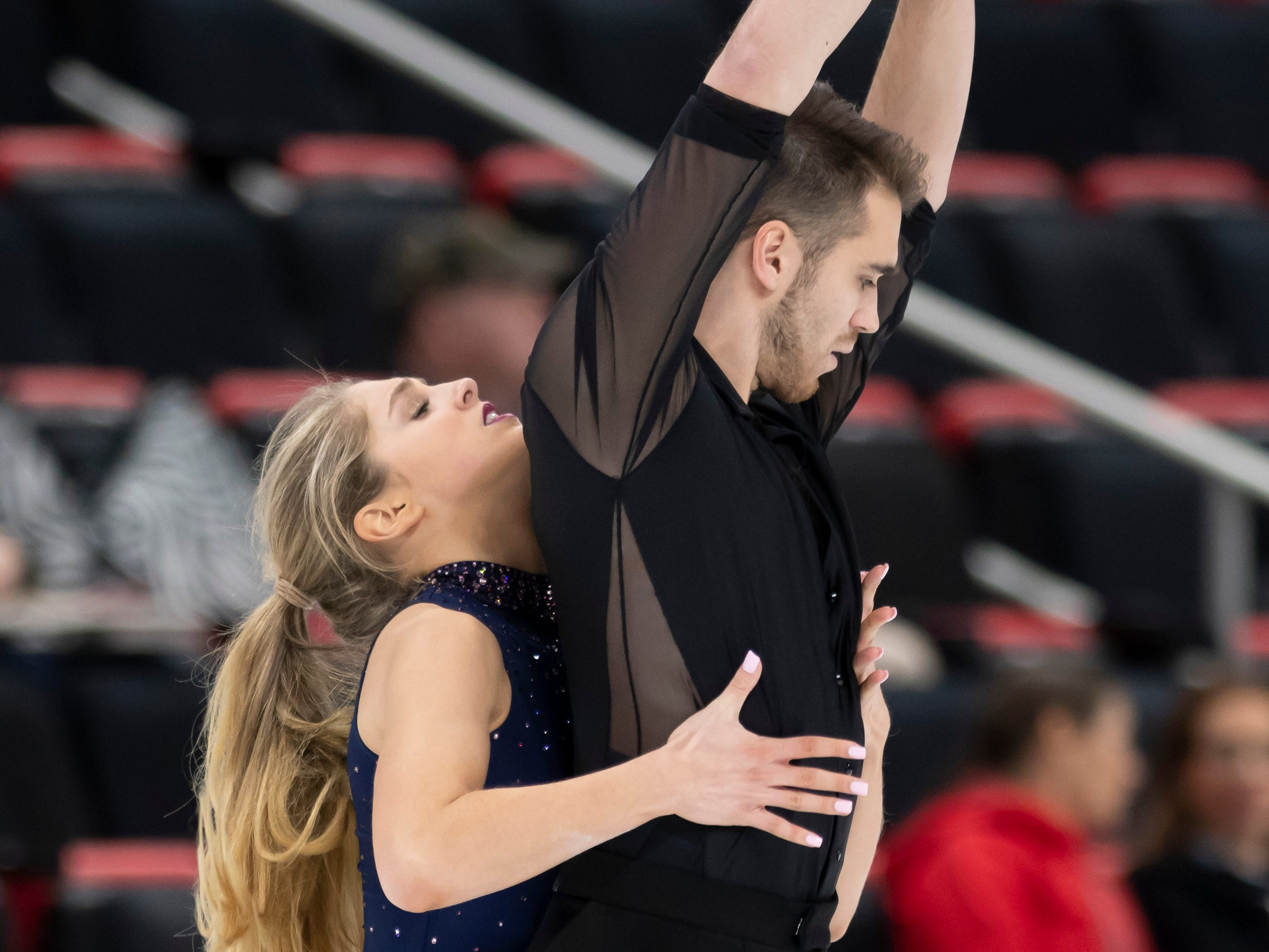 Lydia Erdman and Yuri Vlasenko practice for the dance competition. Both athletes have lived and trained in Canton.