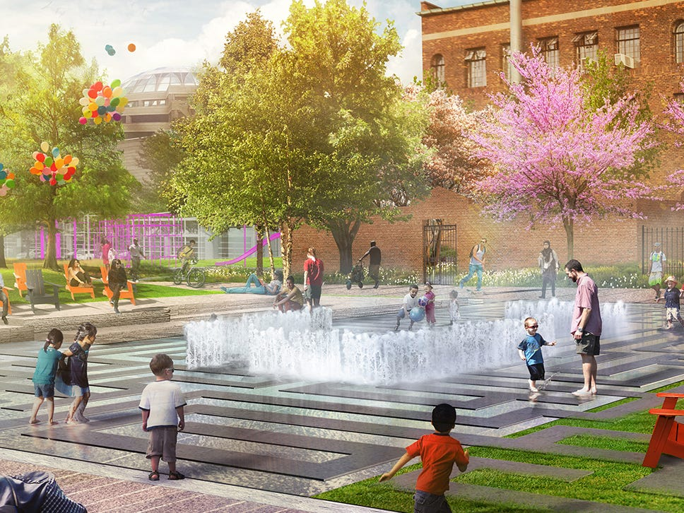 The finalist team Mikyoung Kim Design proposes an outdoor maze space in the DIA Plaza/Midtown Cultural Connections design competition.