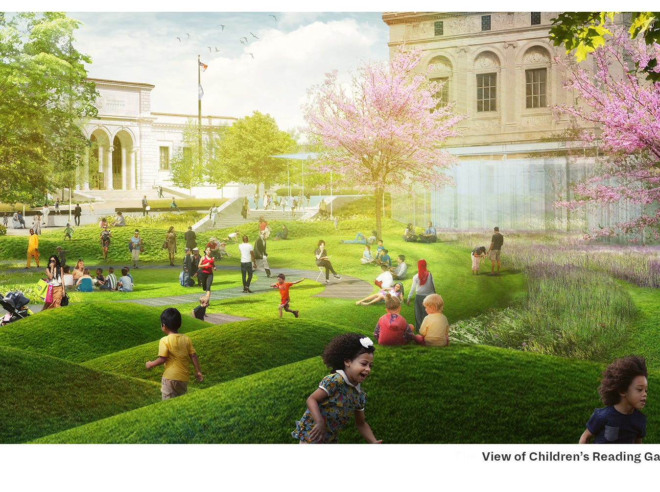 The finalist team Mikyoung Kim Design proposes a new green space intended for children outside the main branch of the Detroit Public Library.