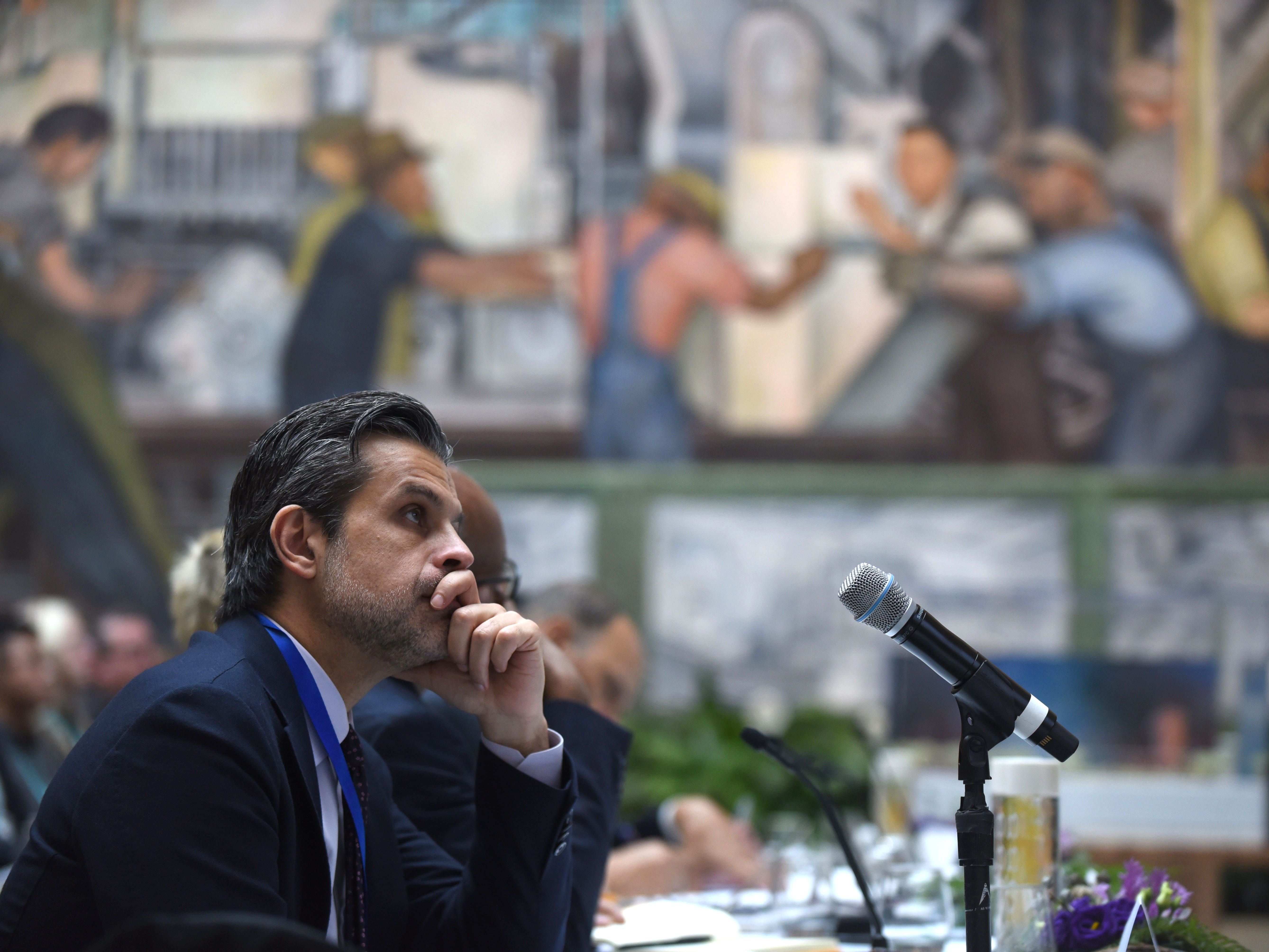 Salvador Salort-Pons, director, Detroit Institute of Arts,  listens to presentations for the DIA Plaza which is part of the Midtown Cultural Connections on Wednesday, January 23, 2019.