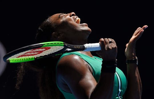 United States' Serena Williams reacts after losing a point to Karolina Pliskova of the Czech Republic during their quarterfinal match Wednesday at the Australian Open.