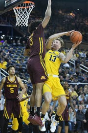 Michigan forward Ignas Brazdeikis (13) finished with a team-high 18 points in Tuesday's 59-57 win over Minnesota.