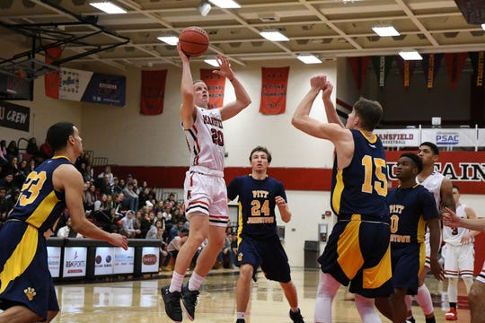 Mansfield University's Tyler Moffe goes up for a shot against Pittsburgh-Johnstown on Dec. 1, 2018 at Decker Gymnasium in Mansfield, Pennsylvania.
