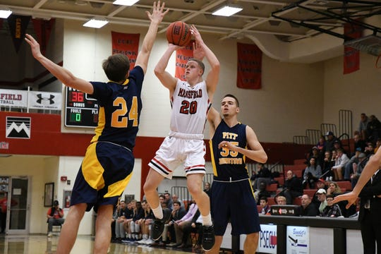 Mansfield University's Tyler Moffe takes a jumper against Pittsburgh-Johnstown on Dec. 1, 2018 at Decker Gymnasium in Mansfield, Pennsylvania.