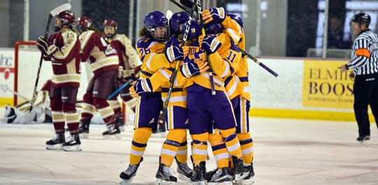 Elmira College players celebrate during a 4-2 win over Norwich on Oct. 27, 2018 at the Murray Athletic Center in Pine Valley.