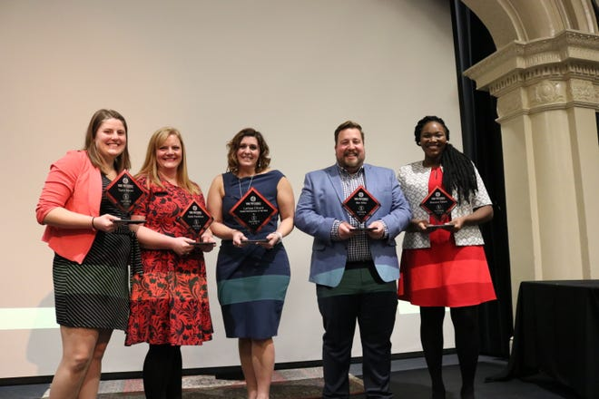 2018 Fond du Lac Future 5 Award recipients, from left, Taylor Moret, Sadie Parafiniuk, Larissa Clinard, Ben Giles and Shavana Talbert. Clinard was named Fond du Lac's 2018 Young Professional of the Year.