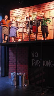 "Pictured from left, during rehearsals for ""Little Shop of Horrors"" are Kennedy Kramer as Crystal, Shane Stadler as Chiffon, Marissa Krueger as Ronette, Lexi Krueger as Eddie, Britt Rasner as Bubbles and Caitlin Schmitt as Lulu."