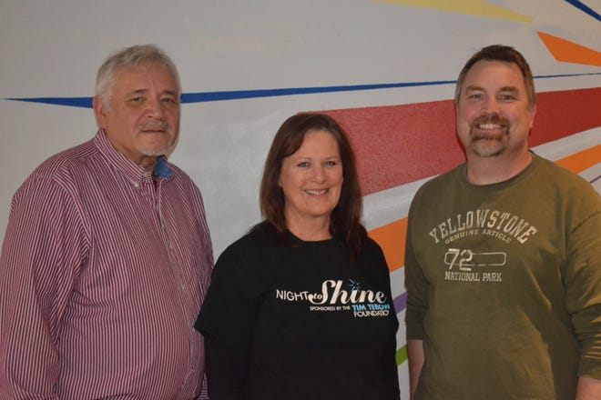 Ron Conner, left,  Associate Pastor Nancy Cullen, center, and Lead Pastor Tony Buxsel have spent the last several months preparing for the Feb. 8 Night to Shine event, a prom like experience for people with special needs ages 14 and up. The event will be held at Terra State Community College.