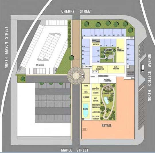 Site plan proposal for Block 23 on North College Avenue in between Cherry and Maple streets.