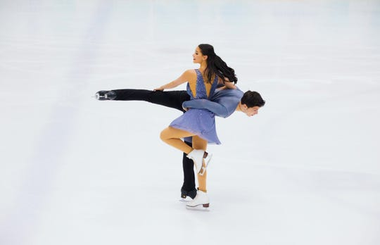 Fort Myers native Nicole Kelly competes with her Turkish ice dancing partner Berk Akalin last year. Kelly and Akalin are part of coach Marina Zoueva's International Skating Academy, which is moving its operations from Michigan to Hertz Arena next month.
