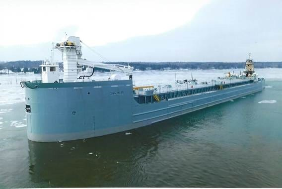The newly converted barge Commander leaves Fincantieri Bay Shipbuilding in Sturgeon Bay en route to Muskegon, Mich.