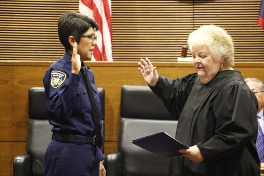 Chief Justice Katherine Maraman, right, swore in Rossanna Villagomez-Aguon, left, as Chief Probation Office by on Wednesday, Jan. 23, 2019 at the Guam Judicial Center in Hagåtña.