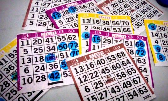 Bingo cards at a bingo hall on Nov. 18, 2018.