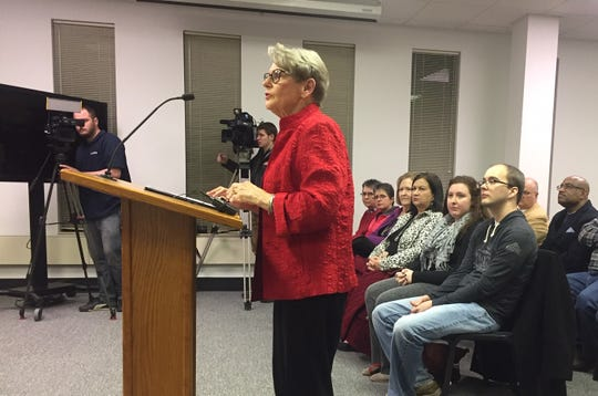 Former Mayor and retired local educator Joan Hoffman speaks before the Henderson City Commission Tuesday evening, seeking to revive the Fairness Ordinance that was overturned here 20 years ago.