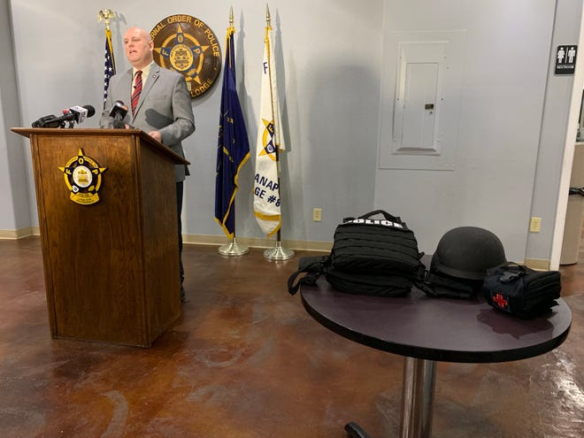 Rick Snyder, president of the Indianapolis Fraternal Order of Police, announced the rank-and-file's endorsement of body cameras during a press conference Wednesday.