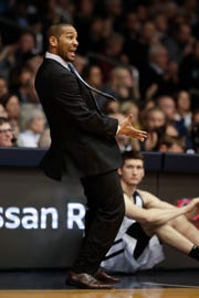 Butler head coach LaVall Jordan gestures in the first half of an NCAA college basketball game against Villanova in Indianapolis, Tuesday, Jan. 22, 2019.