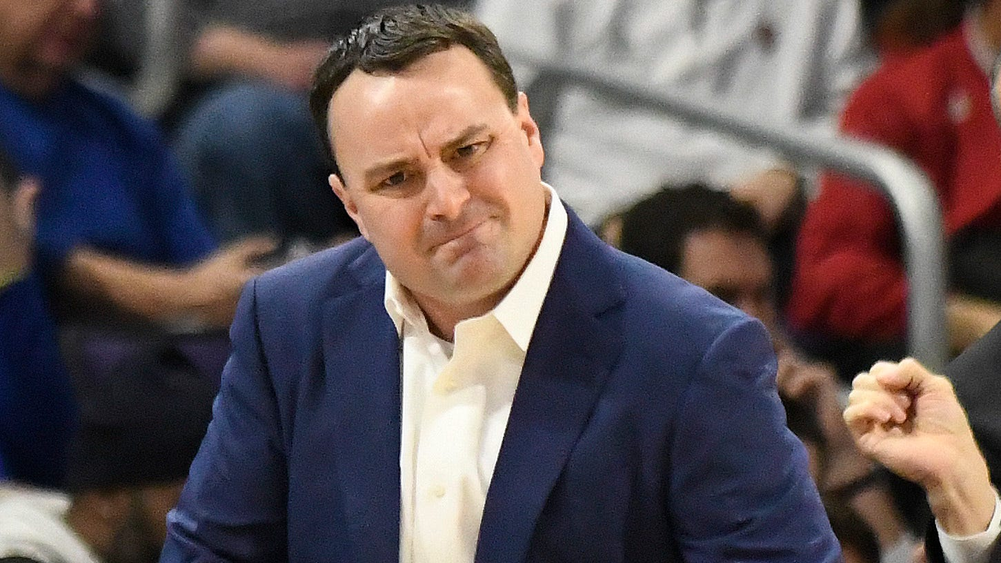 Indiana head coach Archie Miller gestures to his team during the first half of an NCAA college basketball game Tuesday, Jan. 22, 2019, in Evanston, Ill.