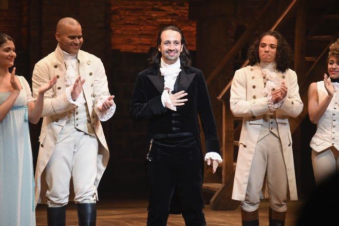 "NEW YORK, NY - JULY 09: (L-R) Phillipa Soo, Christopher Jackson, Lin-Manuel Miranda and Anthony Ramos attend Lin-Manuel Miranda's final performance of ""Hamilton"" on Broadway at Richard Rodgers Theatre on July 9, 2016, in New York City."