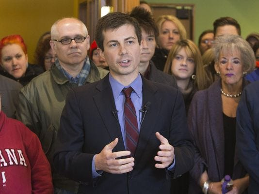 South Bend Mayor Pete Buttigieg, shown here in 2017, declared his candidacy for the Democratic nomination for president in 2020 with a video message that he posted on Jan. 23, 2018.