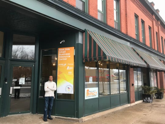 Semi-retired business executive James Summers stands outside South Bend's West Side Small Business Resource Center, a facility that Mayor Pete Buttigieg helped open and that Summers helps run.