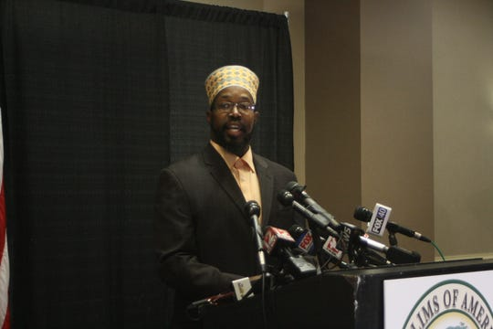 Rashid Clark, the mayor of Islamberg, speaks at a news conference Wednesday at the Holiday Inn Binghamton.