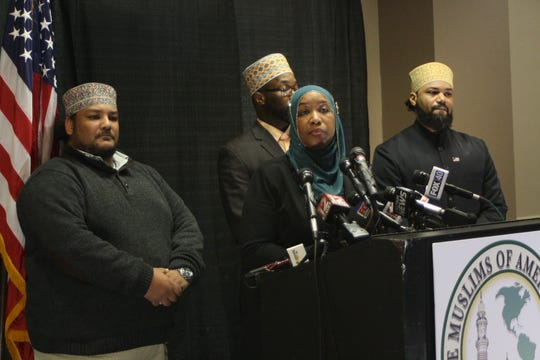 Tahirah Clark, attorney for Muslims of America, speaks at a news conference Wednesday at Holiday Inn Binghamton.