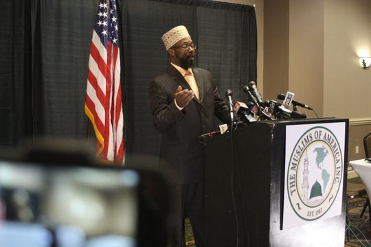 Rashid Clark, the mayor of Islamberg, speaks at a press conference Wednesday at the Holiday Inn Binghamton.