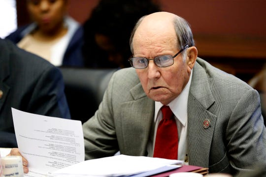 In this 2014 file photo, former Rep. Bobby Shows, R-Ellisville, attends a committee meeting at the Capitol in Jackson, Miss. Shows died Sunday, Jan. 20, 2019, at his home in Ellisville, Miss.