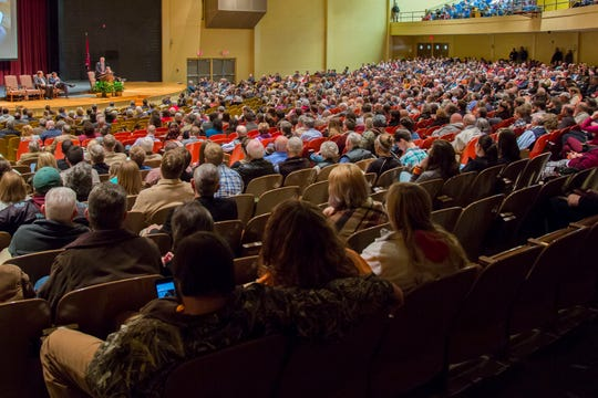 Attendees listen to a speaker from last year's lectureship at Freed-Hardeman University, which has been an annual tradition for 83 years.