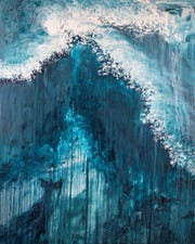 """FHU student Ellie Leonard created this oil painting featured on the cover of the commemorative book for the lectureship. Leonard commented on her work, entitled Marvel, saying """"My goal was to portray the immense power God exercised through Moses. Though Moses was the vehicle, this was God's moment."""" The painting will be displayed at the 2019 FHU Bible Lectureship and then sold, with part of the proceeds benefiting the lectureship."""