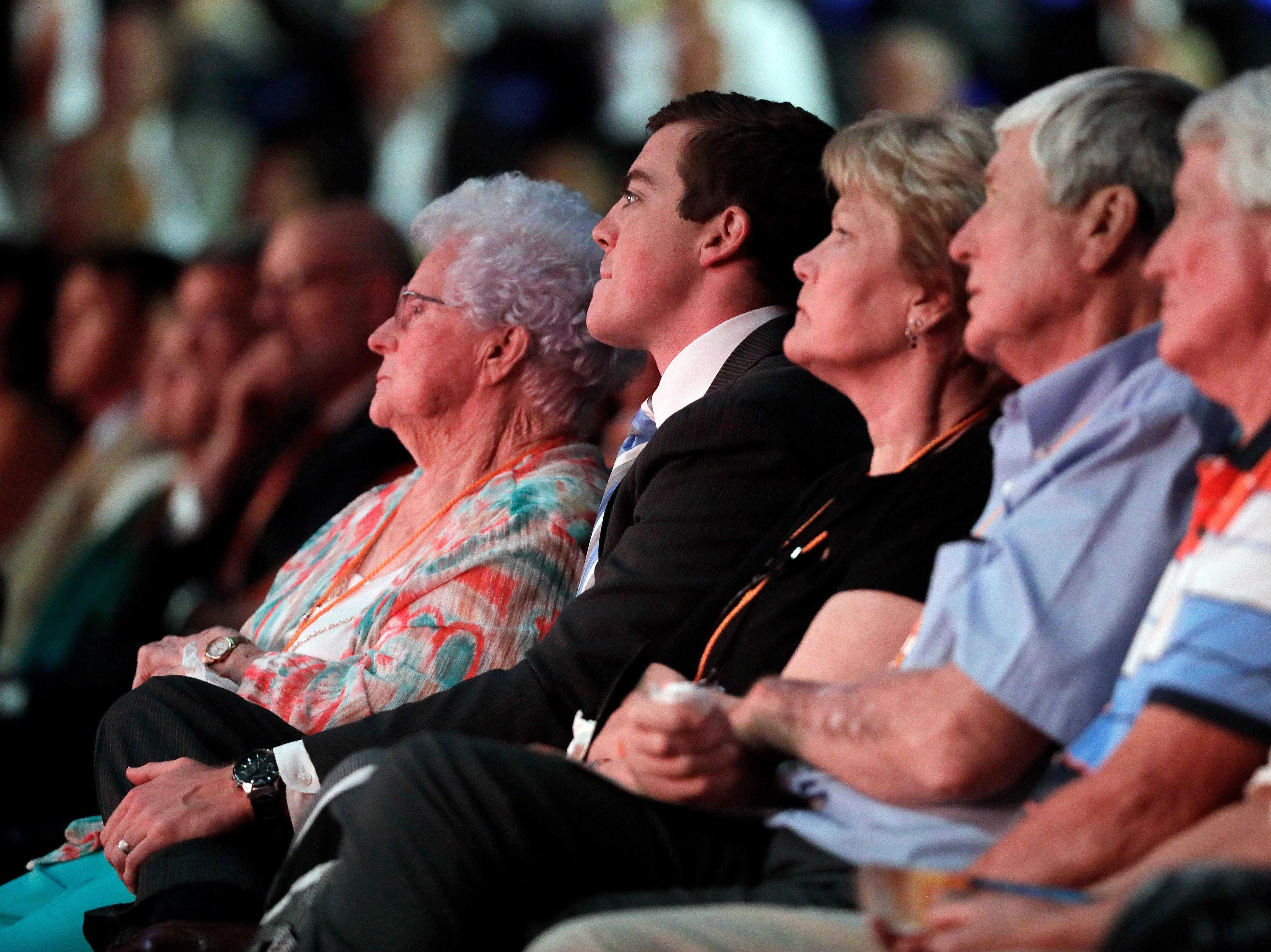 Hazel Albright Head, left, mother of Pat Summitt, sits with Summitt's son, Tyler Summitt, center, and Summitt's sister, Linda Head, third from left, during a ceremony to celebrate the life of former Tennessee women's basketball coach Pat Summitt Thursday, July 14, 2016, in Knoxville, Tenn. Summitt died June 28 at the age of 64.