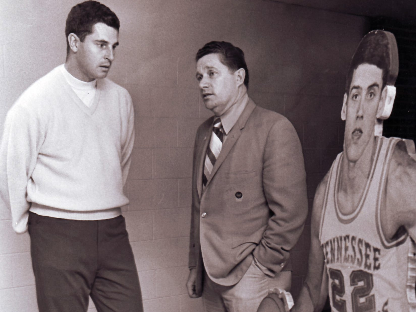 University of Tennessee basketball Coach Ray Mears, right, with Bobby Knight on Feb. 15, 1970.