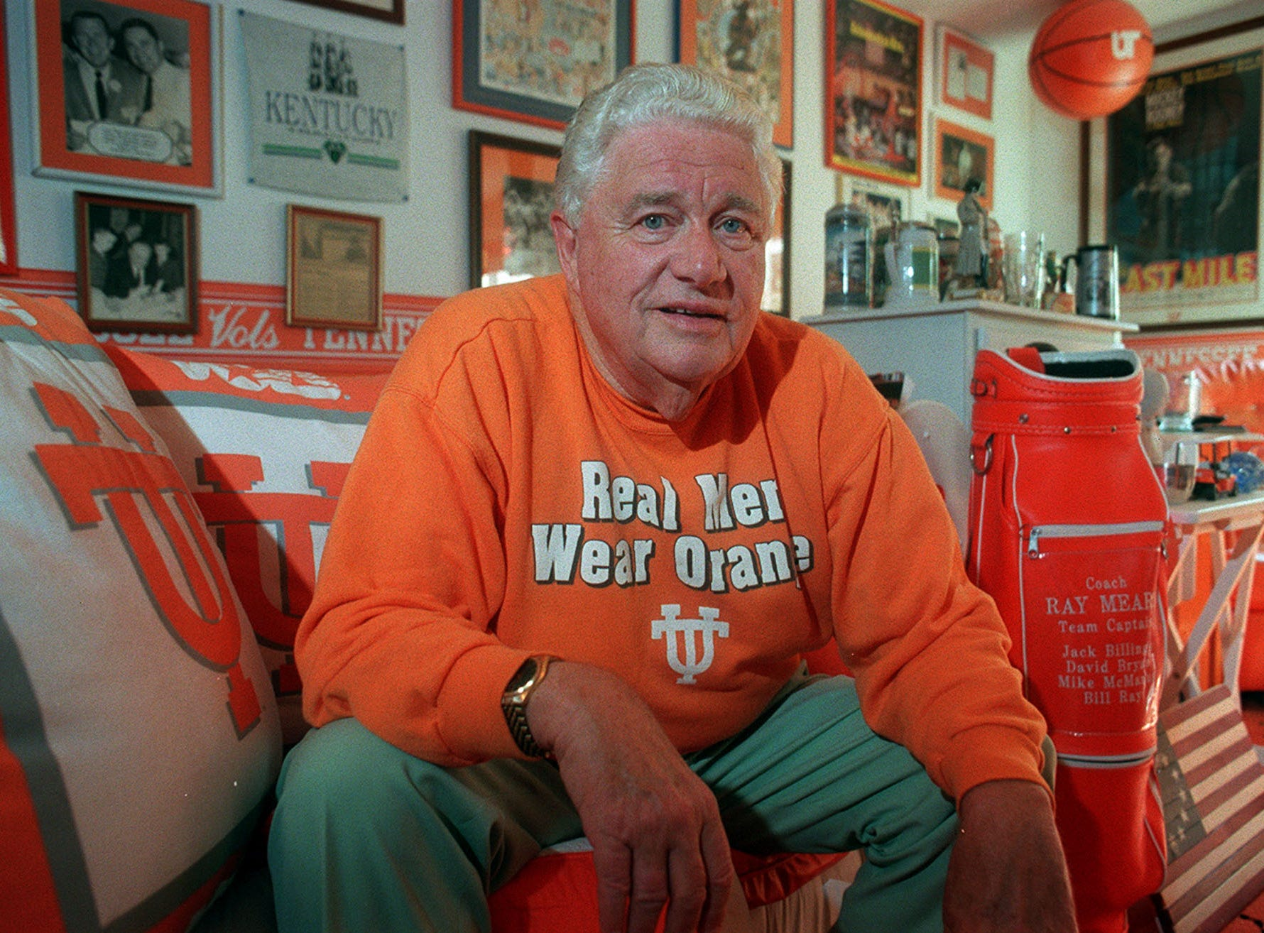 "Retired University of Tennessee basketball coach Ray Mears sits in the the ""orange room"" of his home on Oct. 27, 1999, in Tellico."