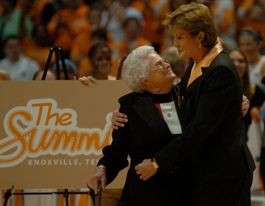 "Pat Summitt gets a big hug from her mother while standing in front of a sign displaying ""The Summitt"", the new name of the basketball court at Thompson Boliing Arena, which was named after her 880th win against Purdue. The Lady Vols defeated Purdue 75-54 on MArch 22, 2005."
