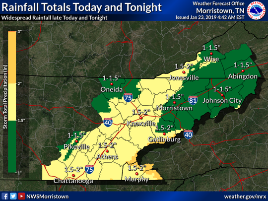 Cold showers, but no snow, is forecast to fall across the Knoxville area Wednesday night, Jan. 23, 2019.